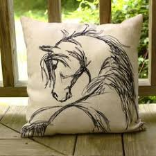 Horse Themed Home Decor Rustic Horse Head Sketch Throw Pillow The Painting Pony Equine