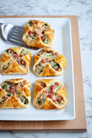 puff pastry canape ideas ham cheese and spinach puffs recipe eatwell101