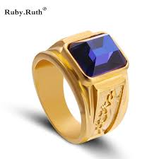 aliexpress buy gents rings new design yellow gold ring hot men unisex new design gold color siam blue color