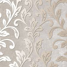 silver leaf damask gray taupe tx34844 contemporary wallpaper