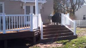 Pergolas And Decks by New Timbertech Deck With Dual Pergolas And Flared Stairs Built By