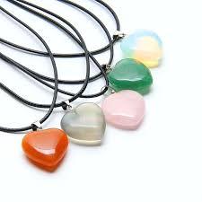 heart stone necklace pendants images Natural healing crystals chakra stones reiki pendant quartz jpg