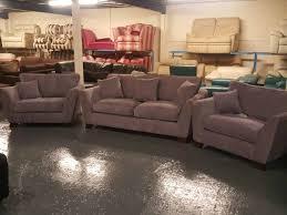 2 Armchairs Ex Display Gabby Light Purple Fabric 3 Seater Sofa And 2 Armchairs