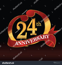 24th anniversary couple logo red golden stock vector 464131370