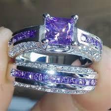 gem stones rings images Princess luxury 925 sterling silver purple crystal cz gemstones jpg