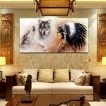 rabbit painting printing canvas wall decor for home decoration