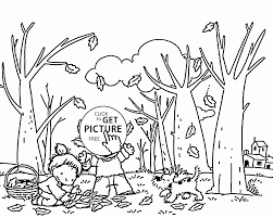 kids collecting fall leaves coloring pages for kids seasons