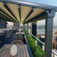 Contemporary Retractable Awnings Modern Sunshade Motorized Pvc Retractable Awnings With Led Light