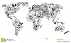 Map Of The World Black And White by Floral World Map For Coloring Books Stock Vector Image 66627130