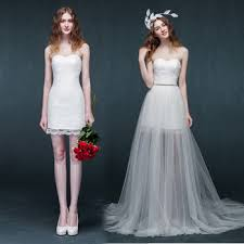 wedding dress with detachable 2016 creative detachable skirt high low prom wedding dress