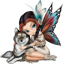 little colorful native american fairy with a wolf tattoo design