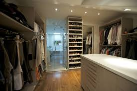 White Wooden Shelves by U Shaped White Stained Wooden Walk Master Bedroom Closet Design