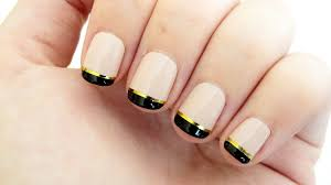 gold and black french manicure youtube