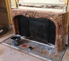 cheminee ethanol style ancien pose d u0027une grande cheminée louis xv en brèche d u0027alep dans paris