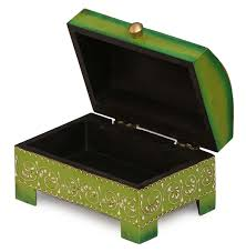 Green Table Gifts by Wholesale Wooden Floral Jewelry Box Bulk Buy Hand Painted Green