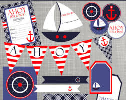 Nautical Theme Baby Shower Decorations - nautical felt party banner or room decoration von taffiewishes