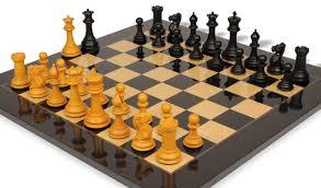 1849 heirloom staunton chess set package in antiqued ebony