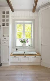kitchen window seat ideas minimalist white bay window seat design with pallet wooden floor