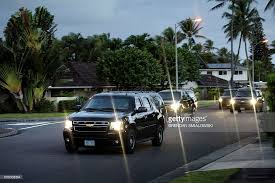 the motorcade with us president barack obama travels from his