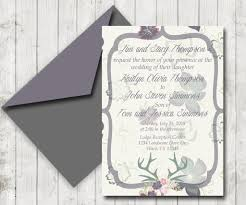 rustic deer antlers purple and grey floral wedding invitation and