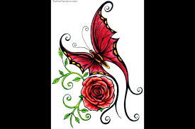 photos butterflies and roses tattoos free picture