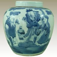 white ginger jar l large antique chinese blue white porcelain lidded ginger jar hand