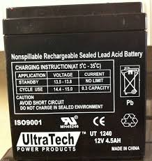 amazon com ultratech ut 1240 12v 4 5ah sealed lead acid alarm