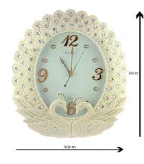 unique white peacock diamond queen wall clock heavenkart