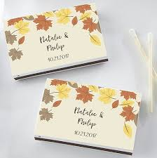 wedding matchboxes personalized fall wedding matches fall leaves labels