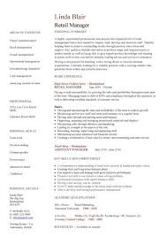 retail manager cv template resume exles description