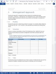 maintenance plan template
