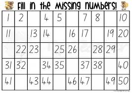 free worksheets numbers chart 1 50 free math worksheets for