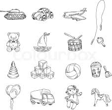 vintage kids toys sketch icons set of teddy bear doll airplane car
