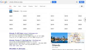 Orlando Florida Zip Codes Map by Google Zip Code Listings Now In Search Results