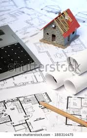 blue prints house building house brick project construction industry stock photo