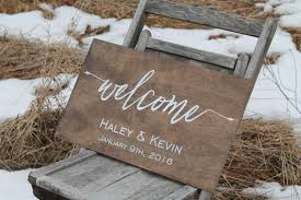 personalized wooden wedding signs welcome to our wedding sign personalized wedding sign rustic