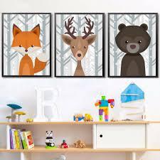tableau chambre enfants décoration poster toile lot de 3 posters toiles animaux hiver