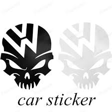 black and white color skull logo car stickers for volkswagen vw