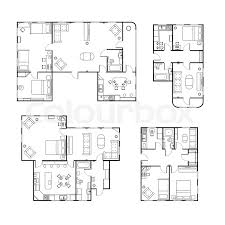 different floor plans set of different black and white house floor plans with interior