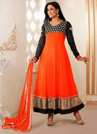 amazing looking anarkali frocks in orange color suitanarkali in