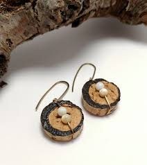 recycled wine cork earrings inspired moon phase cork jewelry