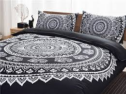 Printed Duvet Covers 3 Piece Black Bohemian Bedding Boho Bedding Set White Exotic
