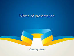 blue and yellow ribbon yellow blue ribbon powerpoint template backgrounds 13405