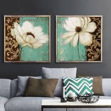 Emerald Home Decor Emerald Green And White Poppy Flower Oil Painting Canvas Prints
