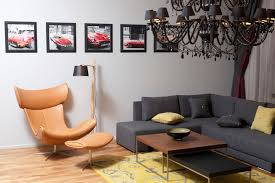 lounge chair living room double beige fabric lounge chairs and lcd tv on white wooden wall