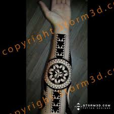 inside forearm polynesian black design triangle