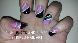 pink black and silver glitter striped nail art youtube