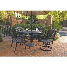 Metal Garden Table And Chairs 48 Inch Round Black Metal Outdoor Patio Dining Table With Umbrella