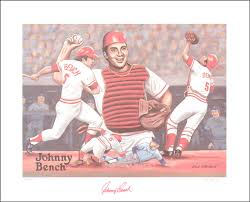 Johnny Bench Autograph Johnny Bench Printed Art Signed In Ink With Cosigners