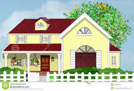 House With Front Porch Yellow Home House With Tree And White Picket Fence Stock Photos